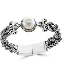 Effy - 18k Yellow Gold, Sterling Silver And 14mm White Cultured Freshwater Pearl Bracelet - Lyst