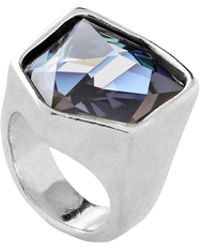 Uno De 50 - Fresh Crystal And Silver Cocktail Ring - Lyst