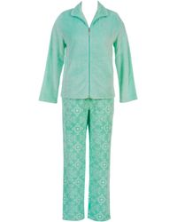 Jasmine Rose - Two-piece Zip-front Top And Floral Printed Pants Pyjama Set - Lyst