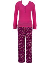 Jasmine Rose - Two-piece Henley Tee And Deer Graphic Pants Pyjama Set - Lyst