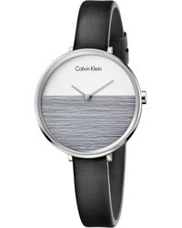 CALVIN KLEIN 205W39NYC - Rise Collection Leather Strap Watch - Lyst