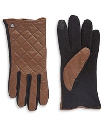 Lauren by Ralph Lauren - Quilted Leather Touch Gloves - Lyst