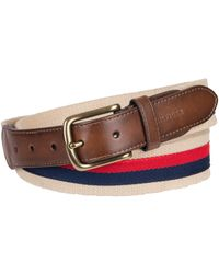 Tommy Hilfiger | Ribbon Overlay And Leather Belt | Lyst