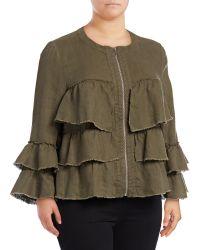 INC International Concepts | Plus Raw Ruffle Linen Jacket | Lyst