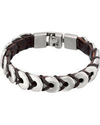 Uno De 50 - Men's Silver And Leather Donuts Bracelet - Lyst