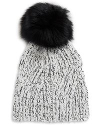 Lord & Taylor - Marled Tuque With Faux Fur Pom-pom - Lyst