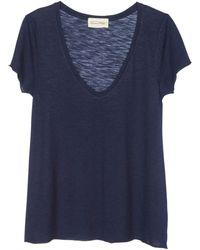 American Vintage T-shirt Met V-hals - Blauw
