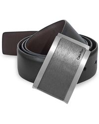 CALVIN KLEIN 205W39NYC - Reversible Wrapped Plaque Leather Belt - Lyst