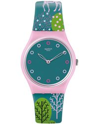 Swatch | Green Dial Analog Printed Silicone Strap Watch | Lyst