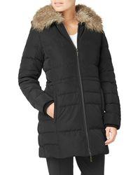 Eastex - Faux Fur Collar Longline Padded Coat - Lyst