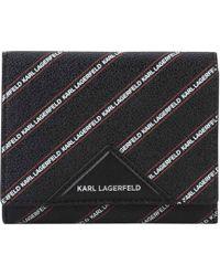 Karl Lagerfeld - Stripe Logo Medium Purse - Lyst