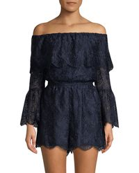 Lord & Taylor - Off-the-shoulder Lace Romper - Lyst