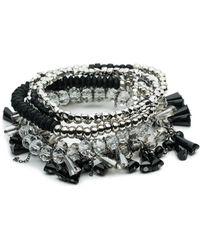 ABS By Allen Schwartz - Black Magic Six-piece Beaded Stretch Bracelet Set - Lyst