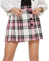 TOPSHOP - Tartan Checked Button Kilt A-line Skirt - Lyst