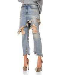 R13 - Double Classic Distressed Jeans - Lyst