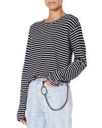 Ksubi Sinister Striped Long Sleeve Tee Women Black And White T-shirt