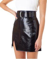 Mugler - Varnish Leather Mini Skirt - Lyst