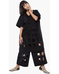Nancy Stella Soto Denim Cutout Tee Dress - Black