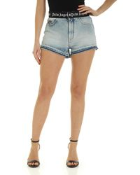 Palm Angels Logo Belt Shorts - Blue