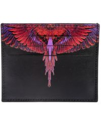 Marcelo Burlon Printed Wings Leather Card Holder - Red