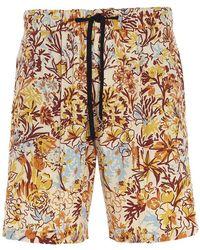 PT01 Floral Chambray Bermuda Shorts - Multicolour