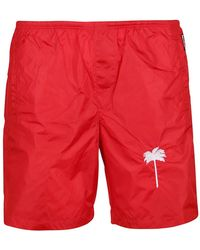 Palm Angels Palm Print Nylon Swim Shorts - Red