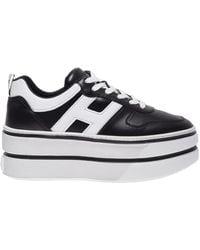 Hogan Scarpe sneakers donna in pelle h449 - Nero