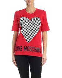 Love Moschino Checkered Heart T-shirt