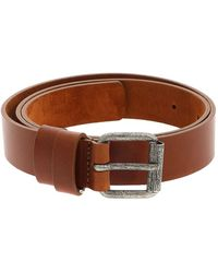 Aspesi Leather Belt With Metal Buckle - Brown