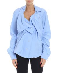 Vivienne Westwood Anglomania - Blue Wrinkled Asymmetric Shirt - Lyst