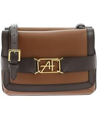 Alberta Ferretti Brown Shoulder Bag With Logo Detail