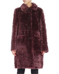 DESA NINETEENSEVENTYTWO Wine-colored Sheepskin Coat