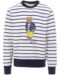 Polo Ralph Lauren Polo Bear Print Striped Sweater - Blue