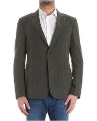 Z Zegna - Green Linen And Silk Jacket - Lyst
