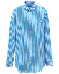Balenciaga Oversize Stripe Cotton Shirt - Blue