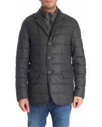 Herno - Grey Melange Wool Down Jacket - Lyst