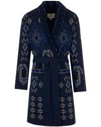 Etro Jacquard Knitted Coat - Blue