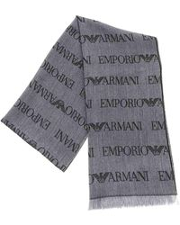 Emporio Armani Melange Gray And Black Scarf With Logo Details