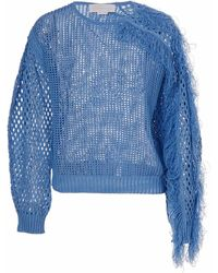 Genny Drilled Pullover With Fringes - Blue