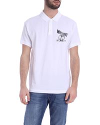 Moschino Polo Bianca Logo Distorted Double Question Mark - Bianco