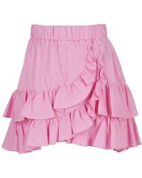 FEDERICA TOSI Cotton-silk Blend Ruffled Skirt - Pink