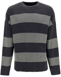 Balenciaga Striped Crew Neck - Grey