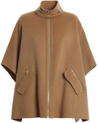 Michael Kors Wool Blend Poncho - Brown