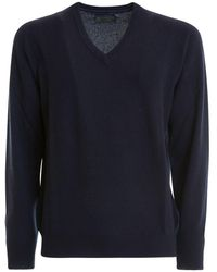 Corneliani Blue Cashmere V-neck Sweater
