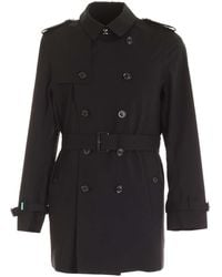 Save The Duck Double-breasted Trench Coat - Black