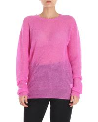 Helmut Lang - Fuchsia Destroyed Effect Pullover - Lyst