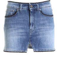 Dondup Black Embroidery Skirt - Blue