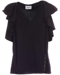 Dondup Ruffles And Embroidery Top - Black