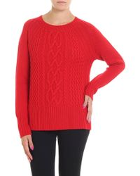 Woolrich - Red Cable Knitted Pullover - Lyst