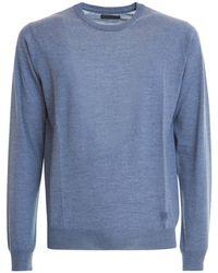 Corneliani Melange Wool Crew Neck Jumper - Blue